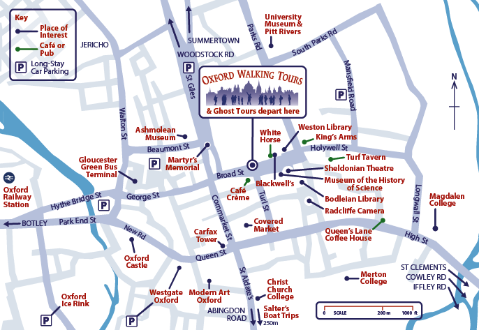 Map of Oxford showing tour departure point on Broad Street, opposite the entrace to Turl Street